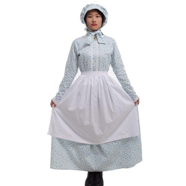 Women Pioneer Prairie Colonial Apron Civil War Reenactment Floral Dress Maid
