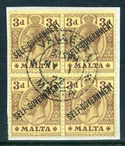 Malta-1922-Self-Govternment-3d-used-block-4with-varieties-2019-06-05-10