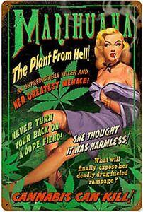 Marijuana-il-Pianta-da-Hell-Insegna-Acciaio-440mm-x-290mm-Pst