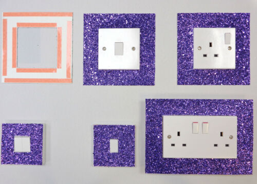 PURPLE GLITTER FABRIC SWITCH SOCKET COVERS WITH DOUBLE SIDE TAPE SWITCHES