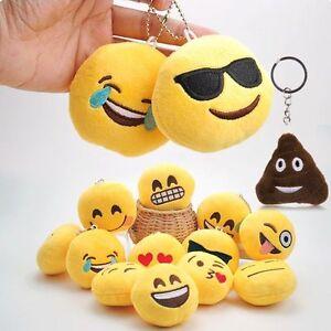 Emoji Plush Toy Doll Emotion Smile Cushion Keychain Keyring Fob Bag