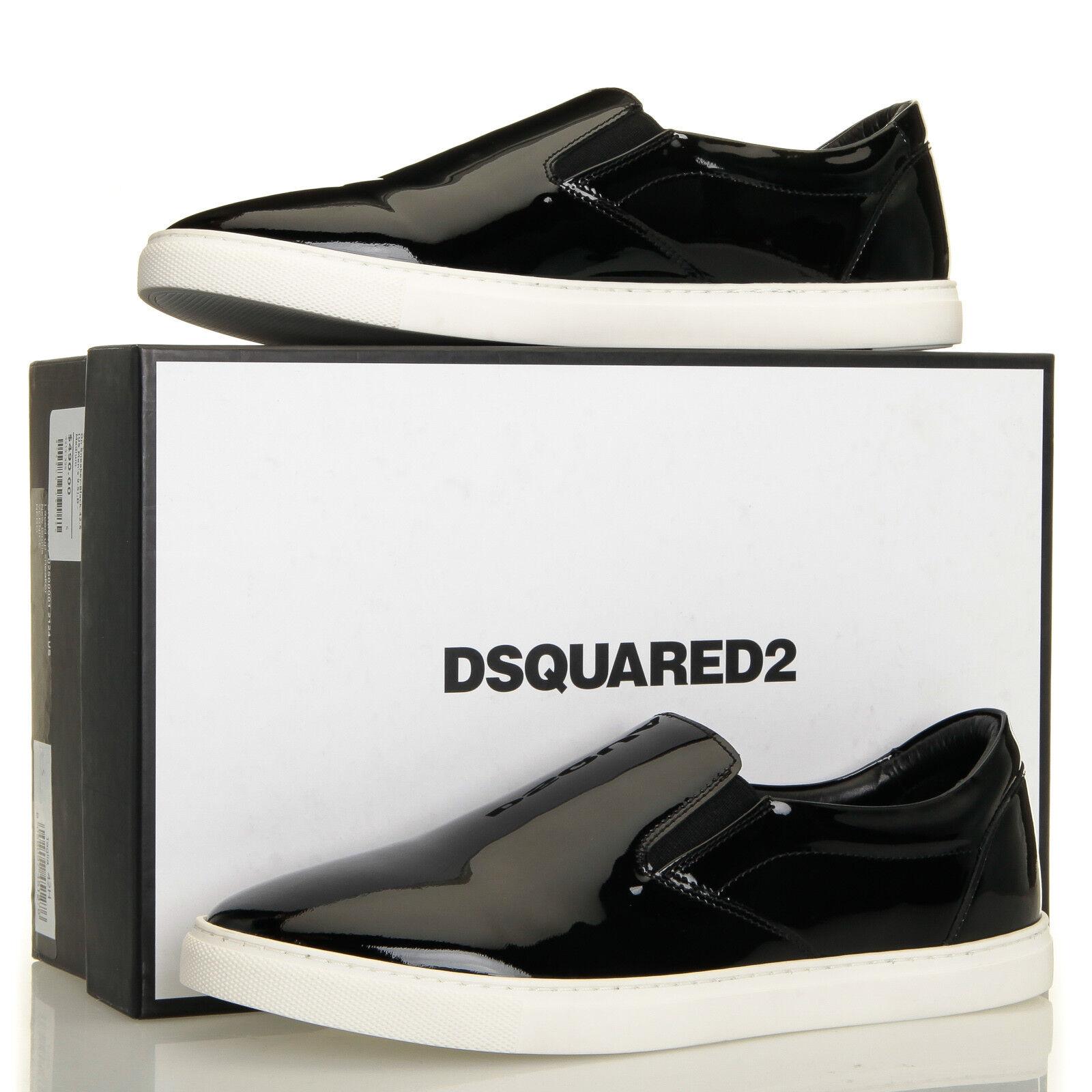 DSQUArosso2 Taglia nero Patent Leather Slip-on scarpe da ginnastica - Mens 9.5 (42.5 EU)