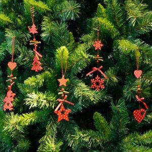 Christmas-Tree-Ornament-Wood-Red-Snowflake-Star-Heart-Hanging-Pendant-Xmas-Decor