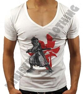 536c9c2b7b MENS DEEP V NECK T-SHIRT SAMURAI MMA SUMMER HOLIDAY T SHIRT GEORDIE ...