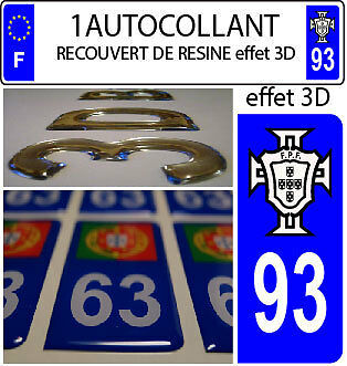 1 sticker plaque immatriculation AUTO TUNING 3D RESINE  FPF PORTUGAL DEPA 93