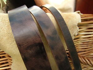 132cm LONG ANTIQUE LOOK DARK BROWN 3.5mm THICK REAL LEATHER STRAP VARIOUS WIDTHS