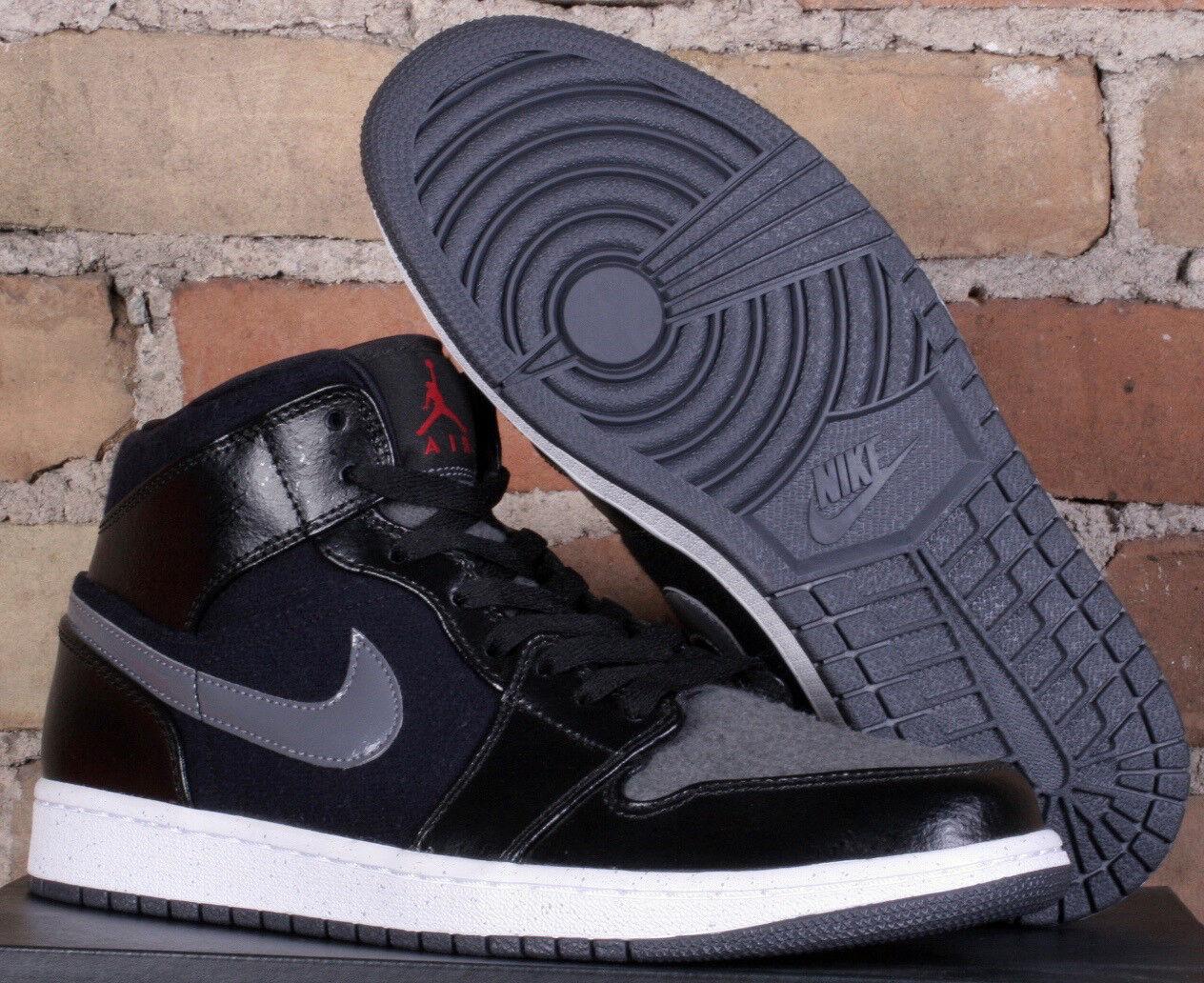 size 40 3d5e6 6579b Nike Air Jordan 1 Mid Premium Noir   Gris Basketball Chaussures 852542 001