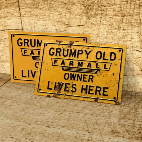 Grumpy old Farmall tractor owner lives here sign for garage home man cave