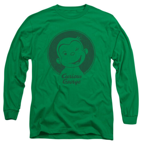 Curious George Face CLASSIC WINK Licensed Adult Long Sleeve T-Shirt S-3XL