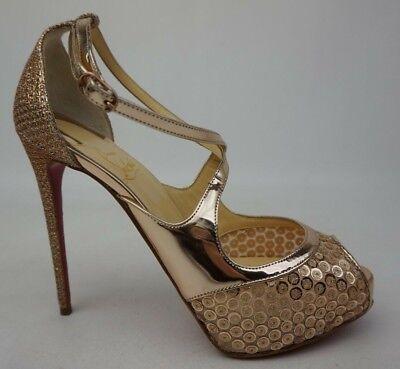 new arrival 59e28 94557 Christian Louboutin Mira Bella 120 Gold Sequin Mirabella Sandal Pump Size  36.5 | eBay
