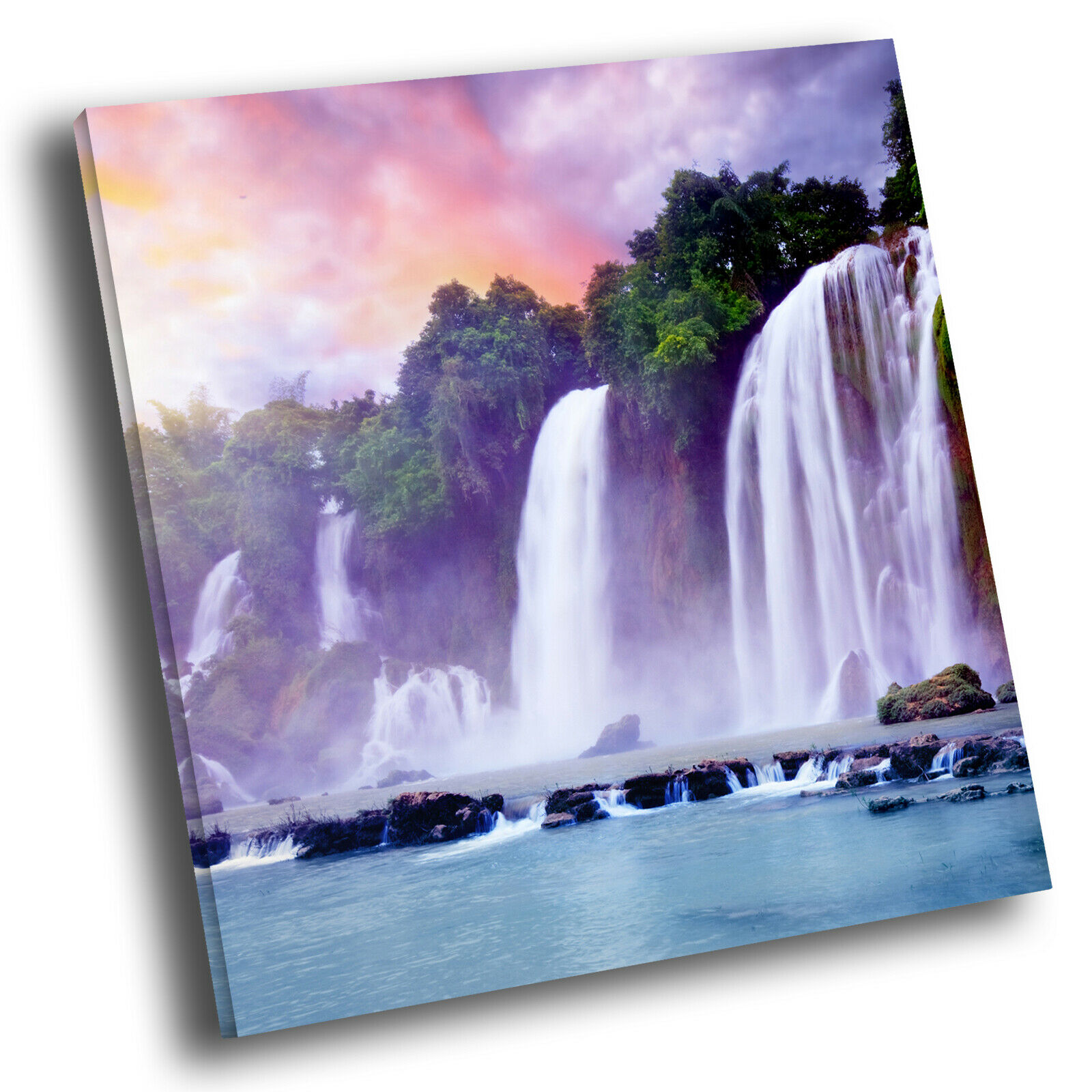 Colourful Waterfall Sunrise Square Scenic Canvas Wall Art Large Picture Print