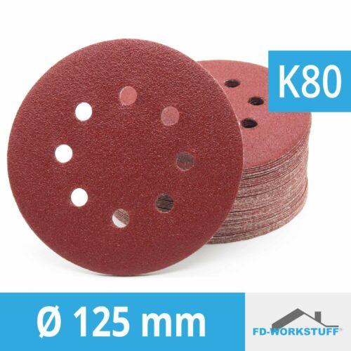 50 Stück Klett-Schleifscheiben Ø 125mm Körnung 80 für Exzenter-Schleifer 8 Loch