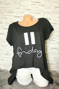 Italy-T-Shirt-Vintage-Gr-36-38-40-42-Shirt-Oversized-Long-Puder-schwarz-blogger
