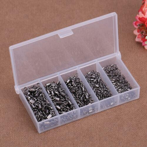 Portable 250pcs Ball Bearing Swivels Solid Ring Fishing Hook Connectors with Box