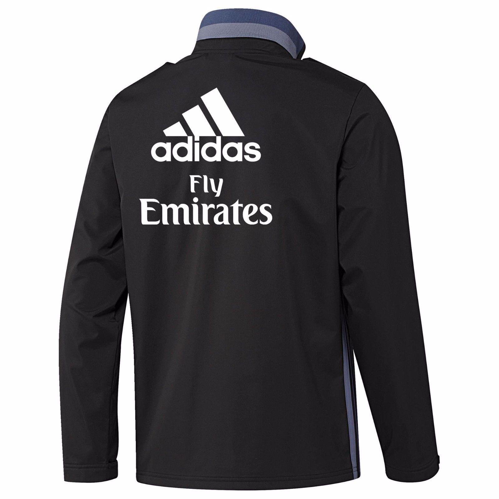 Adidas Real Madrid Viaje Viaje Viaje Chaqueta Negra e3dada