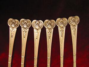 Antique Egyptian Silverplate Fork Set Dessert Pastry Oneida Flatware Lot of 6