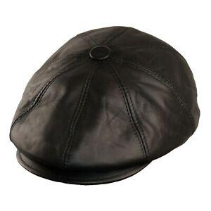 Noir Gavroche Cuir Souple Casquette Plate Hommes Chapeau Chapeaux