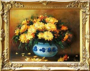 Olgemaelde-Blumen-Pflanzen-Bild-Bilder-Gemaelde-Olbilder-Olbild-Mit-Rahmen-G06085