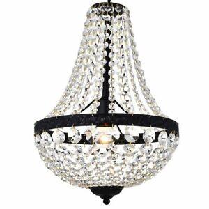 Modern French Empire Black Finish Farmhouse Crystal