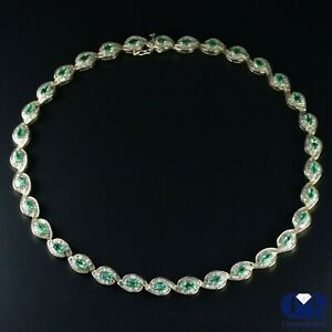 e2eab00394e2b Details about Natural 21.65 Ct Marquise Emerald & Diamond Necklace In 14K  Yellow Gold 16