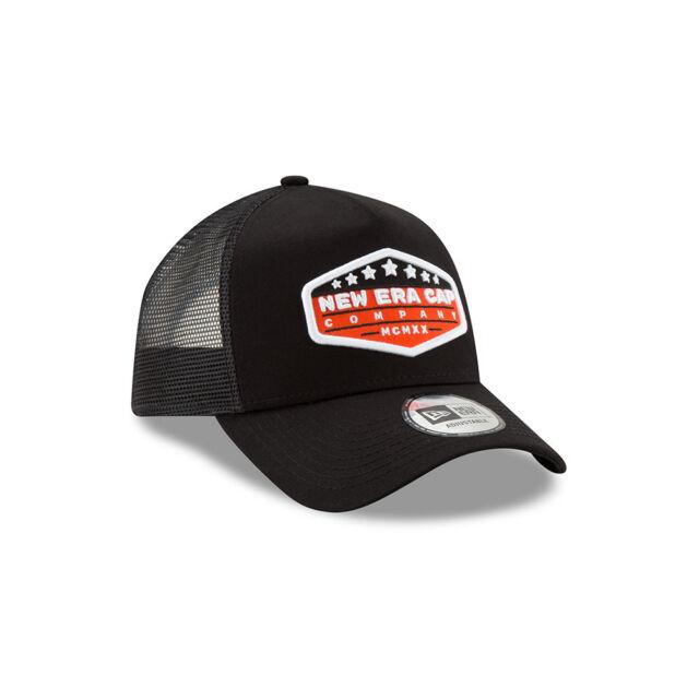 cc1bb6a2 NEW ERA MENS BASEBALL CAP.NEW PATCH BLACK A FRAME SNAPBACK MESH TRUCKER HAT  9S1