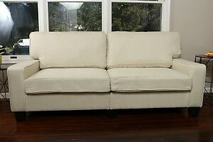light beige sofa couch love seat college dorm apartment living room
