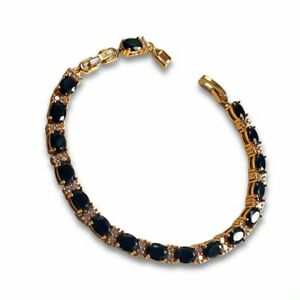 Yellow gold finish onyx and created diamond oval cut bracelet Dubai Shakira