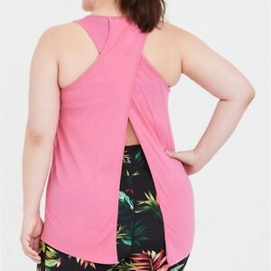 Torrid-0-1-2-3-4-5X-Top-Tank-Shirt-Active-Pink-Split-OpenBack-Plus-Size-Gym-Crew