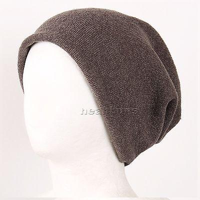 BEANIE MUFFLER unisex OPEN TOP slouchy baggy Cap for man woman Hats cSag brown