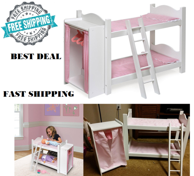 Doll Bed 18 Inch Bunk Storage Closet Clothes Ladder American Girl