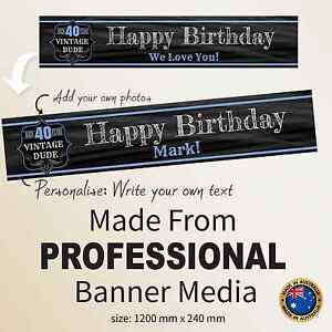 Image Is Loading 40th Birthday Personalised Canvas Banner Party Decorations Supplies