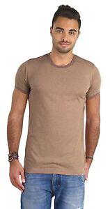 Short-Sleeve-Ringer-Tee-PimaTee-Men-039-s-Crew-Neck-Blended-T-Shirt