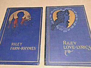 2-JAMES-WHITCOMB-RILEY-BOOKS-1901-Farm-Rhymes-1899-Love-Lyrics