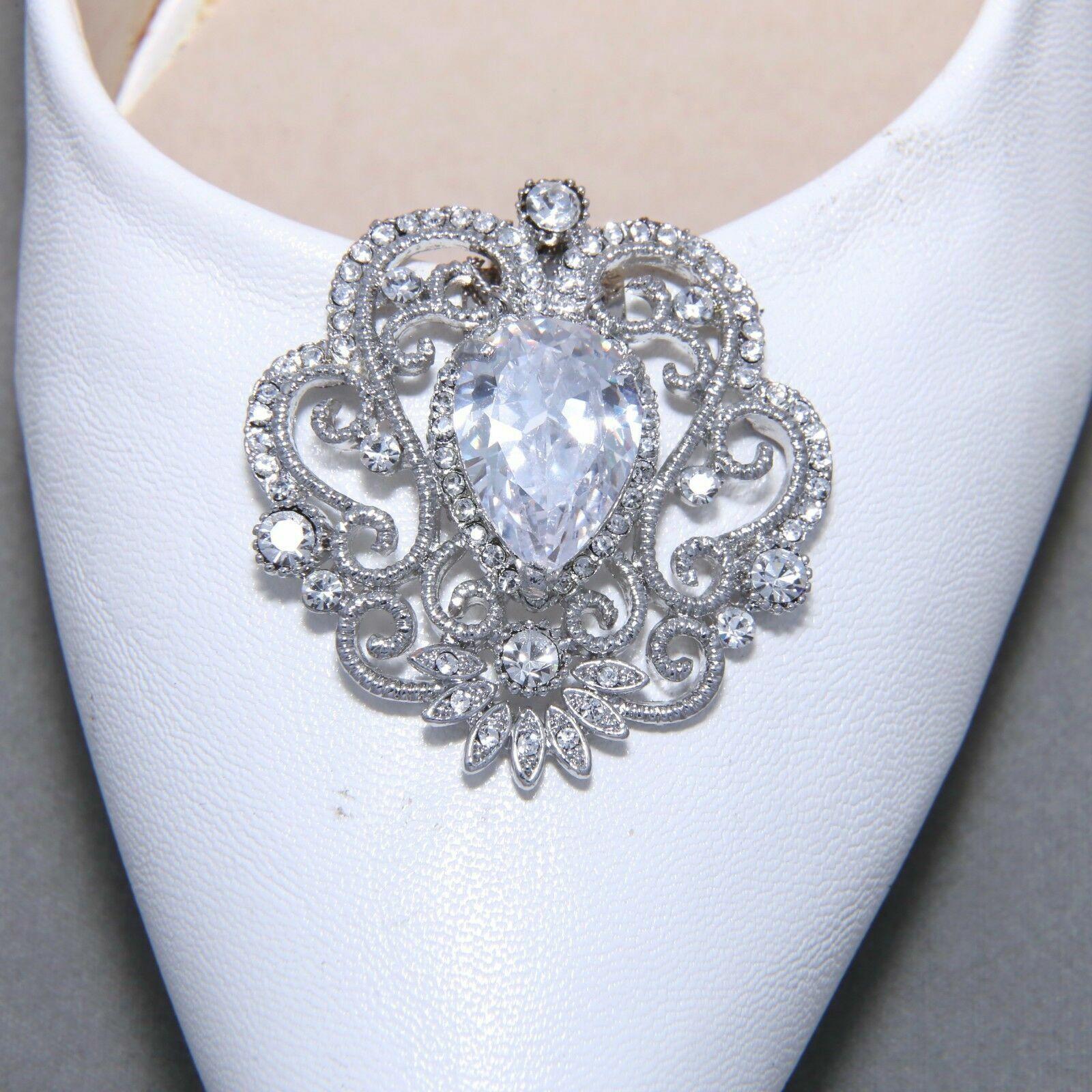 2 Pcs Vintage Style Rhinestone Bridal Wedding Teardrop Crystal Shoe Clips Silver