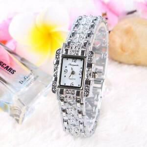 Elegant-Women-039-s-Silver-Crystal-Watch-Stainless-Steel-Alloy-Quartz-Watch