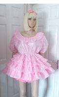 Unisex Short Adult Baby Dress Fancy Dress Sissy Lolita Cosplay Ruffle 4 Row Lace