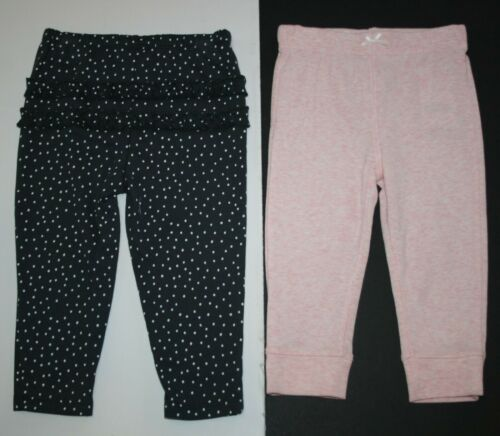 NEW Carter/'s Girls 2 Pack Pairs Pink /& Gray Dotted Pants 12m 18m 24m Ruffle Rear