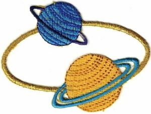 "5/"" Celestial Saturn Planet embroidery applique patch"