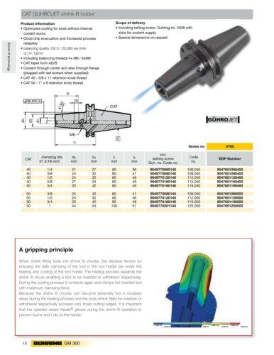 """1//2/"""" I.D 80mm Gage CAT-40 GuhrOJet Peripheral Coolant-Fed Shrink Fit Holder"""