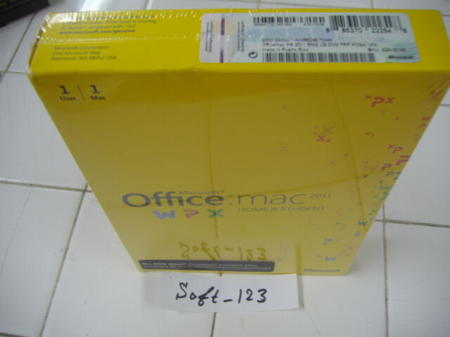 Microsoft office for mac home and student 2011 (3 computer/s) | ebay.