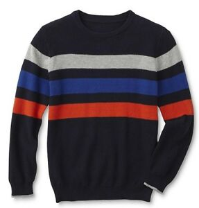 38d9a1cca Basic Editions Boys' Crew Neck Sweater, Gray or Black striped ...