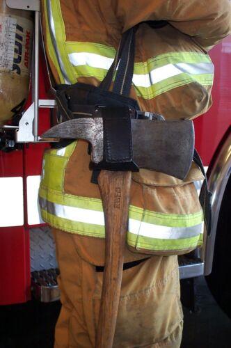 pompier Heavy Duty Cuir Axe Berceau-Noir Ligne 2 Design FIRE HACHE Titulaire