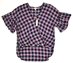 Max-Studio-Plaid-Ruffle-Sleeve-Hi-Lo-Hem-V-Neck-Top-Navy-Red-Small-MSRP-78-00