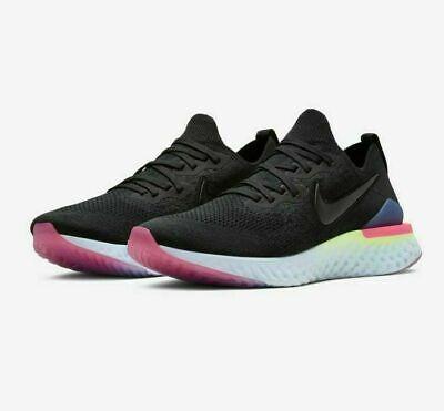Nike Epic React Flyknit 2 Running Shoes Black Sapphire Lime BQ8928 003 Men's NEW | eBay