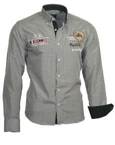 Herrenhemd-Herren-Hemd-shirt-kariert-bestickt-Binder-de-Luxe-81404-schwarz