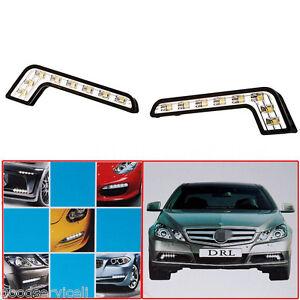 Car-L-Shape-Auto-Daytime-Running-Light-8LED-DRL-Fog-Driving-Daylight-White-2-Pcs
