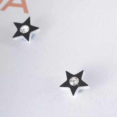 1Pair Mens Womens Rhinestone Black Pentagram Clip On Magnetic Earrings Stud