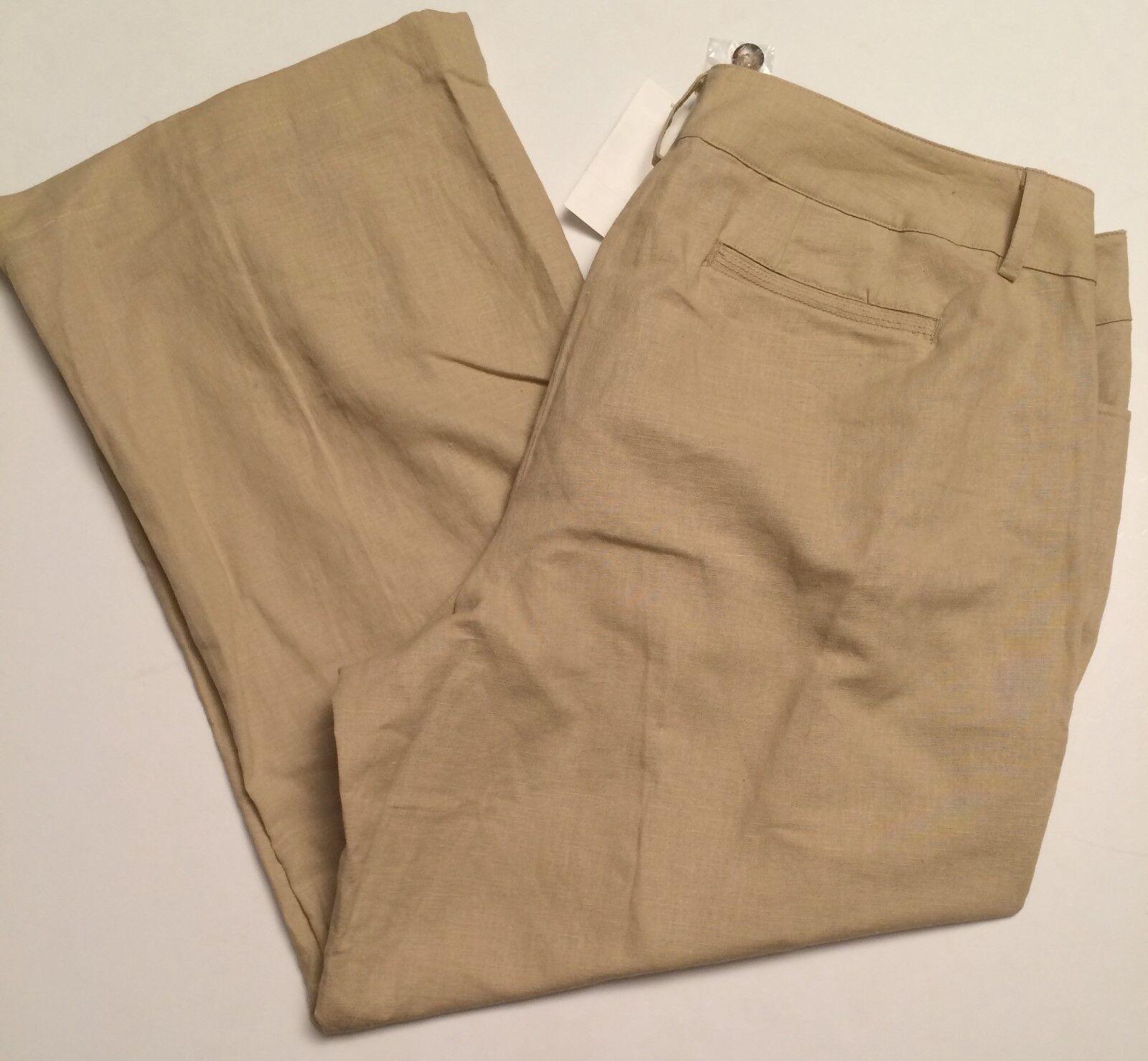 Lane Bryant Pants Womens Size 18 Beige Linen Blend Flat Button Zipper Front NWT