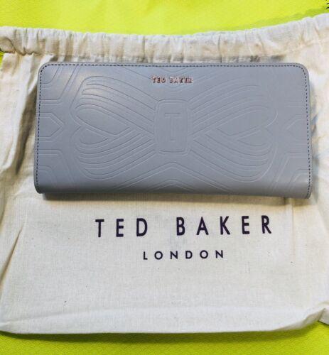 TED Baker Donne Borsetta in rilievo Fiocco Zip Matinee RRP £ 85 Grigio Chiaro
