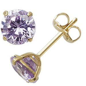 Image Is Loading 9ct Gold June Birthstone Stud Earrings Purple Alexandrite
